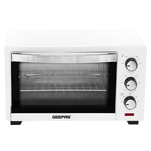 Geepas 19L Electric Kitchen Mini Oven Powerful Grill 1380W with Crumb Tray, 60 Minutes Timer, Rotisserie Function – 2 Years Warranty