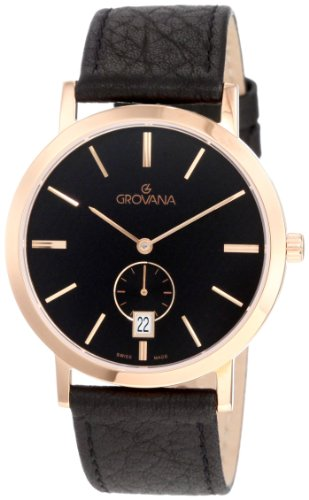 Grovana Men's 1050.1567 Classic Rose Gold Analog Black Watch