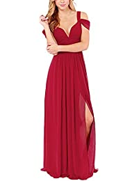 Donna Lunghi Eleganti Estivi Chiffon Abito da Sera V Profondo Senza  Schienale Senza Spalline Vestito da Cerimonia Abiti Maxi A… 479ef9e9d11