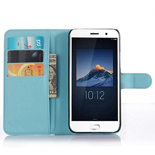Tasche für Lenovo ZUK Z1 Hülle, Ycloud PU Ledertasche Flip Cover Wallet Case Handyhülle mit Stand Function Credit Card Slots Bookstyle Purse Design blau