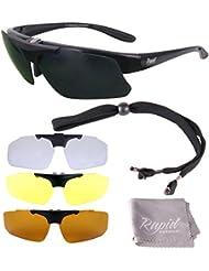 04d43e3acaafc1 Rapid Eyewear Schwarz Rx Polarisierte Sportbrille Sehstärke mit  Optikadapter und Wechselgläser x4. Brille für Radsport