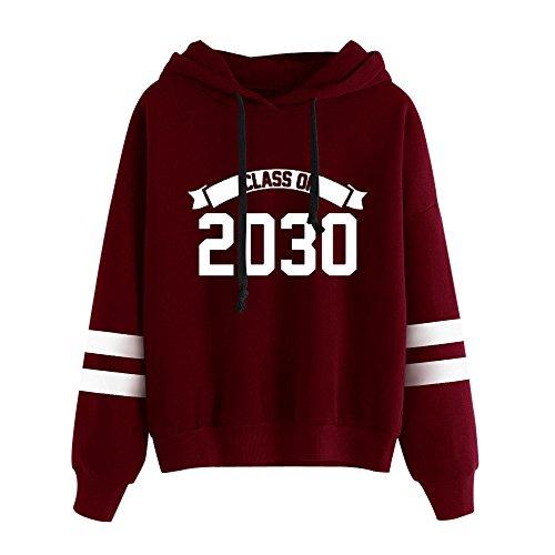 Reaso Sweat Shirt Hooded Sports Femme Automne Tops à Manches Longues Dames Hiver Rayé Sweat-Shirt Coton Sweats à Capuche Blouson Col Rond Casual Pull Elegant Chemisier Streetwear (M, Rouge B)