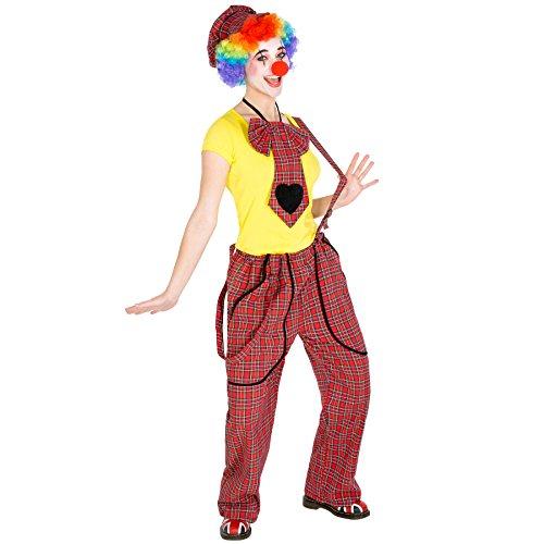 dressforfun Costume da Donna - Clown Pepa | Magnifici pantaloni con bretelle | Incl. Berretto con Visiera e Naso da Pagliaccio (S | No. 300813)