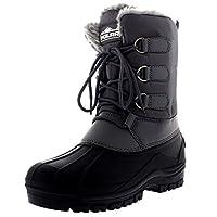 Polar Mens Muck Lace Up Short Nylon Winter Snow Rain Lace Up Waterproof Duck Boots - Grey - UK9/EU43 - YC0338