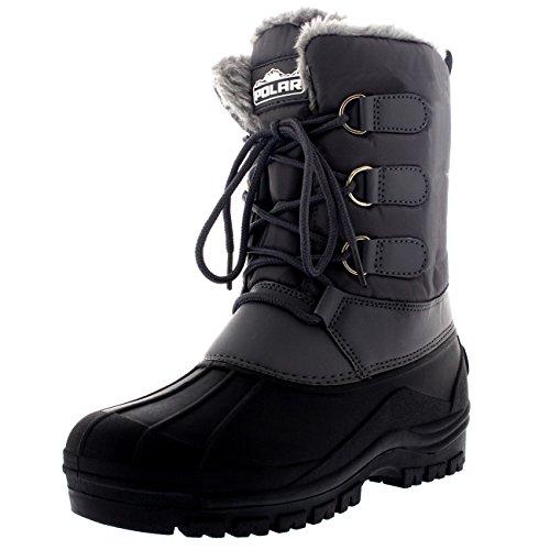 Polar Herren Muck Schnüren Short Nylon Winter Schnee Regen Schnüren Wasserdicht Ente Stiefel - Grau - UK9/EU43 - YC0338 - Sorel Regen Stiefel