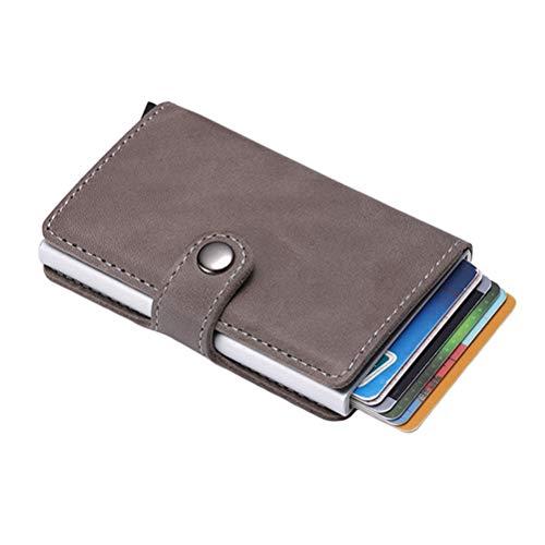 Porta Carte di Credito, Serratura RFID, Tasche Multiuso per Portafogli, Lega di Alluminio + ABS + Pelle di Mucca, Grigio