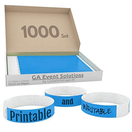 GA Event Solutions Braccialetti di identificazione Tyvek, Azzurro, 1000 pezzi