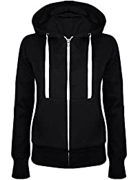 MIOIM® Moda Mujeres Sudadera con Capucha Camiseta Deporte Suéter Casual Top Chaqueta con Cremallera Pullover Chaqueta Color Sòlido