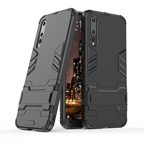 Huawei P20 Pro case,Stylish cover GOGME [Tough Armor Series]Rugged TPU/PC Hybrid Armor, Anti-Scratch PC back panel + Shockproof TPU bumper+Foldable holder,Ultra-thin phone shell for Huawei P20 Pro. black