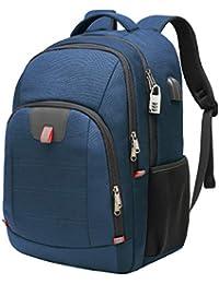 Mochila Antirrobo Impermeable, Mochila Portátil Hombre 17.3 Pulgadas Puerto USB Impermeable Trabajo Ordenador Viaje Negocio Multifuncional Daypacks Azul