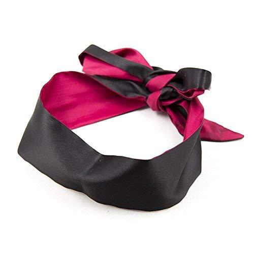 Satin Augenbinde | 150 cm lang in schwarz und rot | Augenmaske Schlafmaske Schlafbrille samtig weich