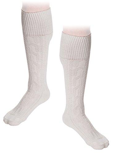 Trachten Socken Kniebundstrümpfe Weiß Trachtenoutfit Baumwollsocken (44/45, Weiß)