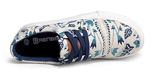Aisun Damen Canvas Mehrfarbig Schnürer Low-Top Plateau Flache Sneaker Grün