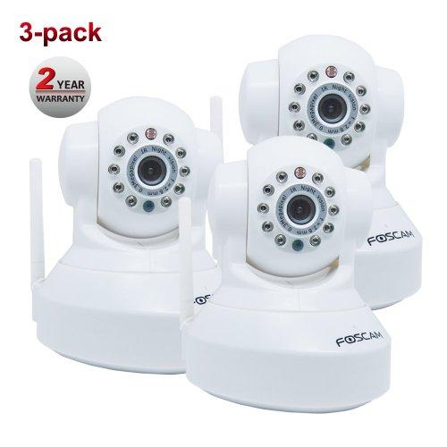 Foscam FI8918W WLAN IP Überwachungskamera (WiFi, 3-er Pack) mit Remote-Pan/Tilt-Steuerung weiß