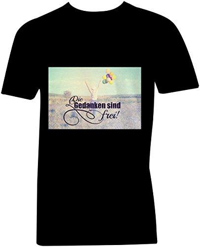 Die Gedanken Sind Frei 2 ★ V-Neck T-Shirt Männer-Herren ★ hochwertig bedruckt mit lustigem Spruch ★ Die perfekte Geschenk-Idee (01) schwarz