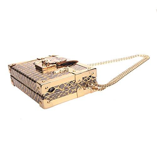 Bonjanvye Snake Pattern Chain Strap Shoulder Small Bag for Women Black Gold