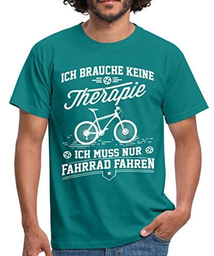 Spreadshirt Keine Therapie Nur Radfahren Fahrrad Spruch Männer T-Shirt, M, Divablau - 48cm Rennrad