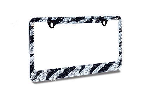 Premium Bling Weiß/Schwarz ZEBRA Design (weiß cap-c Typ) Kristall rhinestone-metal chrom Nummernschild Rahmen von JR2 (Kennzeichenhalter Zebra)