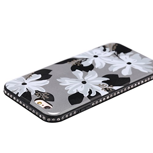 iPhone 6 Hülle,iPhone 6 Schutzhülle,JAWSEU [Bling Glitzer Kristall Strass Diamant Hülle] iPhone 6/6S Silikon Hülle,Elegant Glitzer Schwarz Mandala Blumen Muster Ultra Dünn Flexibel Ultra Dünn Flexibel Blumen #4