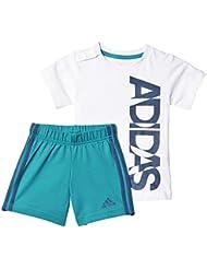 adidas I SU Linear Set - Conjunto unisex, color blanco / azul, talla 62