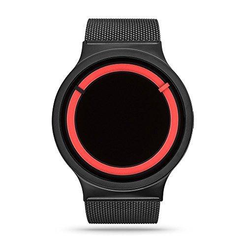 ZIIIRO Eclipse Unisex Relojes de Acero, Color Negro y Rojo