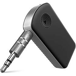 Receptor Bluetooth/Kit de Coche, WisFox Adaptador de Audio Inalámbrico Portátil con Chip CSR, 15 Horas de Tiempo de Reproducción Adaptador Bluetooth Estéreo(Micrófono Incorporado) para Música de Audio