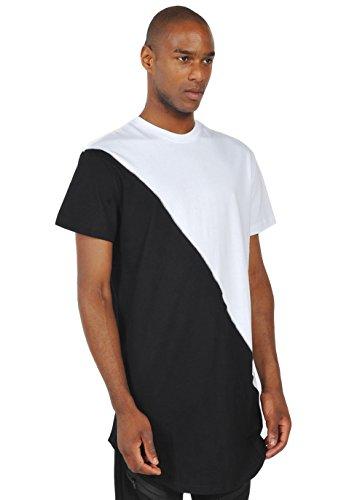Pizoff Unisex Hip Hop Urban Basic langes T Shirts mit kontras Einsatz Y1293-White--L (Henley Camo Shirt)