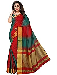 Fabwomen Cotton Silk Saree With Blouse Piece (_Red And Green_Free Size)