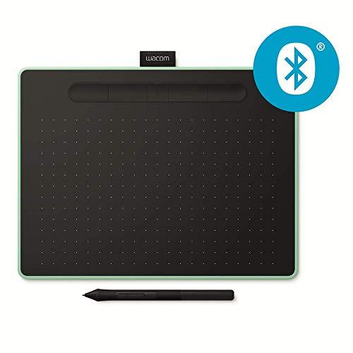 Wacom Intuos M Stift-/Mobiles Zeichentablett (zum Malen & Fotobearbeitung mit druckempfindlichem Stift & Bluetooth und 3 kostenlosen Softwaredownloads, Kompatibel mit Windows & Mac) pistazie