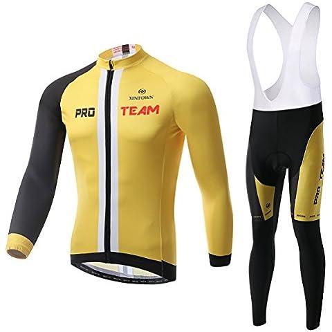 dushow invernale termico ciclismo giacca a maniche lunghe ciclismo antivento Jersey MTB Mountain Bike Giacca/pantaloni da ciclismo bib Tight, uomo, Yellow(Jersey+Bib)