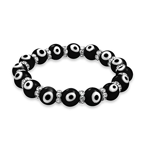 Bling Jewelry Turco Mal de Ojo Blanco Negro Glass Bead Stretch Bracelet Rondelle Crystal s para