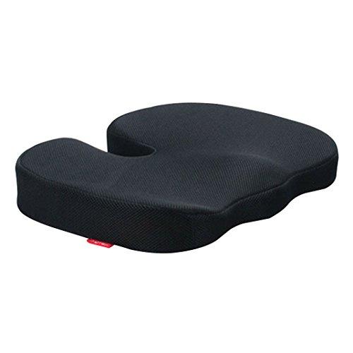 U-Typ Stuhlkissen Comfort, Asnlove Memory-Schaum Sitzkissen Mit Anti-Rutsch Bezug, Wirkt Schmerz Reduzierend Und Wirbelsäulen Ausrichtung, Sorgt Für Gerade Körperhaltung Und Steißbein-Entlastung, Geeignet Für Auto, Büro,Rollstuhl, Sowie Reisen(Black)