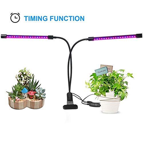 MISJIA Double tête 20W LED élèvent la lumière 36 LEDs avec Spectre Rouge/Bleu et 360 degré réglable col de Cygne Flexible pour Les Plantes d'intérieur et de Culture hydroponique semis