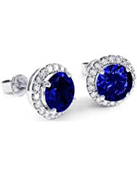Stardust 2.7ct Sapphire and Diamond Halo Silver Stud Earrings (WHITE GOLD)