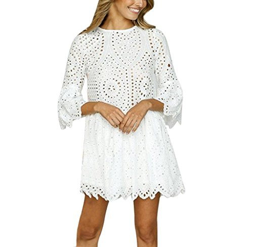 Tomatoa Damen Sommer Blume Spitze Kurzarm T-Shirt Party Kleid Retro Spitzenkleid Rock Pyjama Top (Weiß, S)