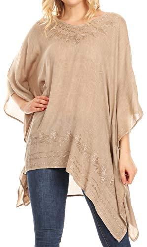 Sakkas 1801 - Regina Damen Leichte Poncho-Bluse aus Stonewashed-Top mit Kaftanüberzug - Beige - OS -