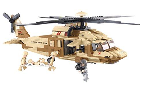 Funstones - Baustein Set US Army Hubschrauber United States Armee + Figuren Bausatz -