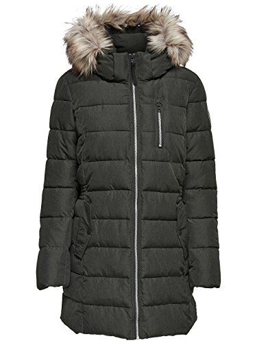 ONLY Damen Mantel Onldana Nylon Coat Otw Grau (Peat Detail:Melange)