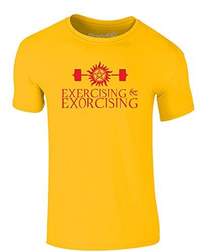 Brand88 - Exercising & Exorcising, Erwachsene Gedrucktes T-Shirt Gänseblümchen-Gelb