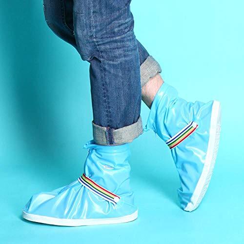 SHUHANX Überschuhe Wiederverwendbare, regensichere Schuhabdeckung Verdicken Verschleißfeste, wasserdichte Schuhabdeckung mit Reißverschluss Rutschfeste Regenschutzhüllen für Männer Women-sky_blue_M