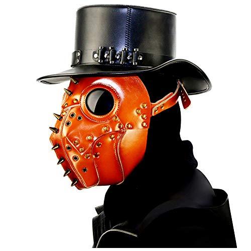 Quner Halloween Maske, Pest Doktor Schnabelmaske PU Pest-Maske Halloween Cosplay ,Retro Felsen Party Masken Kostüm Dekoration (Orange)