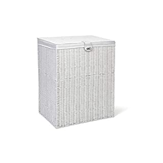 ARPAN Resin Large Laundry Clothes Lid, Lock Storage Basket with Removable Lining, White, 85 liters