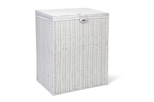 Arpan Medium Wäsche Korb mit Deckel und Futter Aufbewahrungskorb mit herausnehmbarem Futter,–weiß
