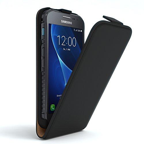 Samsung Galaxy Xcover 3 Hülle Flip Cover zum Aufklappen I von EAZY CASE I Handyhülle aufklappbar, Schutzhülle, Flipcover, Flipcase, Flipstyle Case vertikal klappbar, aus Kunstleder, Schwarz