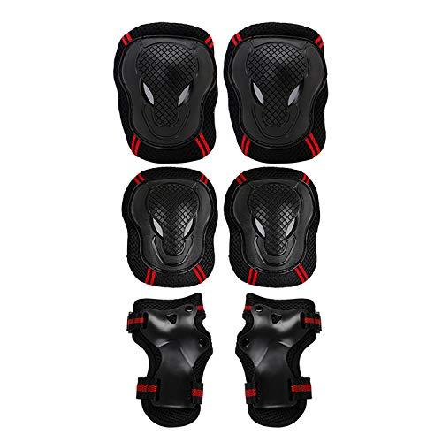 6Skaten schutzausrüstungen Sets Ellenbogen Knie Pads Bike Skateboard für Erwachsene Kid, Schwarz, L