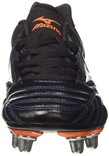 Mizuno Waitangi Ps, Chaussures de Rugby homme Nero (Black/White/Orange Clown Fish)