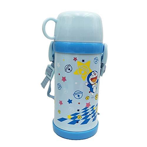 sserkocher mit Strohhalm und Schultergurt + extra Strohhalme, Mädchen und Jungen Geschenke, auslaufsicher, Vakuum Edelstahl Metall Doppelschicht Wasserflasche für Kleinkinder ()
