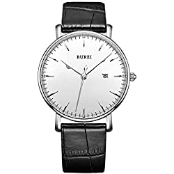 BUREI Classic Collection Men's Quartz Watch with White Dial Analog Display and Black Leather Strap SM-13002-P01AY