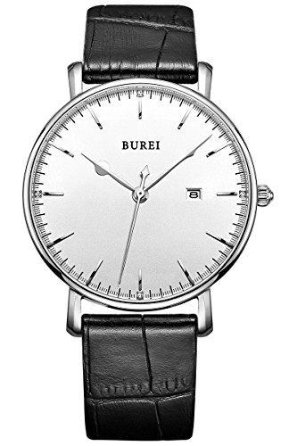 burei-unisex-armbanduhr-wei-mit-schwarzem-lederarmband