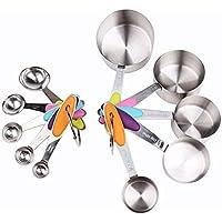 Holeco durata multi-tipo in acciaio inox 10 pezzo migliore misurini / misura tazze Design ergonomico con Silicone antiscivolo maniglie - perfetto per cottura & cucina